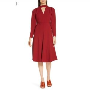 Lewit Fit & Flare Long Sleeve Dress Sz 16 Red NWT